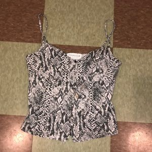 Vtg 90s fitted tank top snake print UO sm